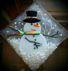 Mr Cool Snowman Glass Frit Holiday Ornament