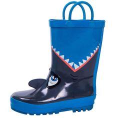 fc48e6104 Kids Boys Waterproof Rubber Rain Boots Shark Printed Rain Boot Easy Pull on  Hand