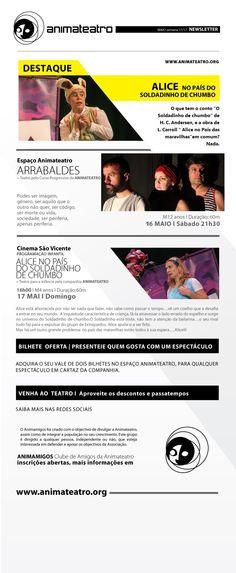 Este Sábado continuamos com ARRABALDES no Espaço ANIMATEATRO, e ao Auditório Cinema São Vicente chega a ALICE NO PAÍS DO SOLDADINHO DE CHUMBO, para toda a família, aos Domingos de Maio. A não perder!