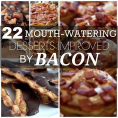 22 Mouthwatering Desserts Improved By Bacon (with recipes!). For impressing the menz (or hipsters!) in your life, or for those who have a sweet *and* salty tooth. Included: Bacon brittle; salted caramel ice cream with candied bacon; bacon baklava; peanut butter bacon cookies; and bourbon, marshmellow and bacon s'mores. YUM!
