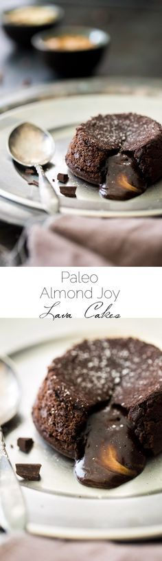 Paleo Chocolate Lava Cake Recipe - So rich and chocolatey that you would NEVER know these are healthy! They're made with coconut oil and almond butter, so they taste like an Almond Joy bar! Perfect for Valentine's Day! | Foodfaithfitness.com | @FoodFaithFit