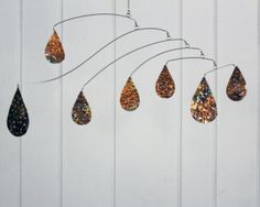 Steampunk Style Rustic Copper Rain Raindrop by Carolyn Weir of Skysetter Art Mobiles