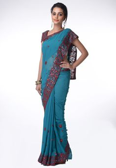 Light blue faux georgette resham and sequins work saree. Matching readymade blouse is available with this. (Slight variation in color is possible.) data-pin-do=