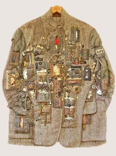 Megatrends A/W 16/17 –  Artisan. The jacket, on the other hand, marks this story's eclectic approach to surface decoration, where the face of the fabric is customised with tarnished metal trinkets and ordered odds and ends.   Custom Repair and Embellishment