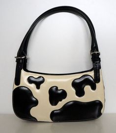 Moschino cow patches leather bag purse black by StylarniaVintage