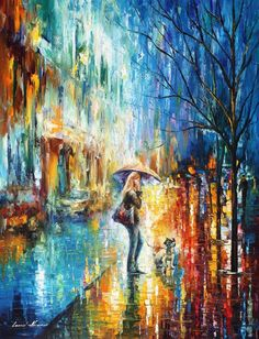 """Stroll With A Friend — Palette Knife Cityscape Rain Scene Oil Painting On Canvas By Leonid Afremov. Size: 30"""" X 40"""" Inches (75cm x 100cm)"""