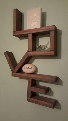 Handmade Home Decor Small Wooden Shelf, Wooden Shelves, Floating Shelves, Love Shelf, Diy Home Decor, Room Decor, Wall Shelves Design, Wood Design, Wood Crafts