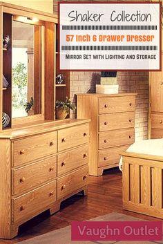 Shaker Collection 57 Inch 6 Drawer Dresser