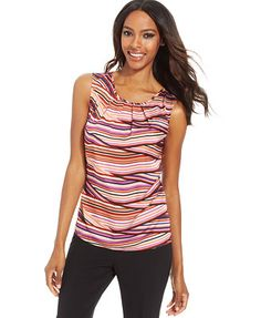 Nine West Sleeveless Striped Pleat-Neck Top