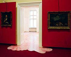 "Heike Weber, ""Dorotheum 300"", 2007, permanentmarker on vinyl floor, 210 squaremeters, 300 years Dorotheum Vienna, photo: Raimo Rudi Rumpler, Wien, AT (1   2)"