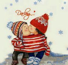 Winter Illustration, Christmas Illustration, Illustration Art, Cartoon Girl Drawing, Girl Cartoon, Christmas Pictures, Christmas Art, Diy Anniversary Cards For Boyfriend, Bestfriend Birthday Ideas