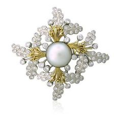 Elizabeth Gage 18K Gold 4.70ctw Diamond 15.3mm Pearl Brooch Pin