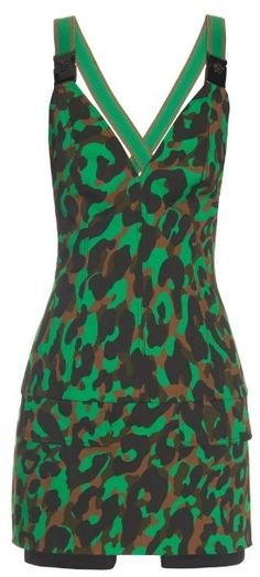 VERSACE Camouflage-print stretch-canvas mini dress
