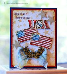Patriotic card using Tim Holtz Blueprint stamps by Wanda Guess