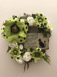 Cute cat wreath, just right for your front door. Cuttest as can be. Great for all season decor☺️. Now in my etsy shop. Just click the link in bio👆🏻or send me DM for details. Handmade Ornaments, Handmade Decorations, Handmade Crafts, Front Door Decor, Wreaths For Front Door, Fabric Balls, Seasonal Decor, Holiday Decor, Mothers Day Gifts From Daughter