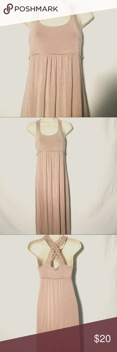 Calvin Klein Beige Maxi Dress Beautiful cage back design. Long free flowing summer dress. Rayon/Spandex blend. In excellent condition. Calvin Klein Dresses Maxi