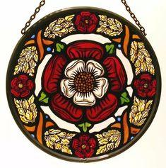 Decorative Hand Painted Stained Glass Window Sun Catcher/Roundel in a Medieval Tudor Rose Design. Stained Glass Tattoo, Stained Glass Art, Stained Glass Windows, Rose Tudor, Tudor Rose Tattoos, Lancaster, Wine Bottle Wall, Wine Bottles, Mandala Rose