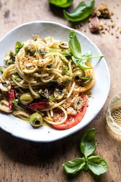 garden fresh herb, olive, and parmesan pasta with pistachio breadcrumbs.yummy Christmas and New Year Cake and Cuisine Recipes Pasta Recipes, Dinner Recipes, Cooking Recipes, Vegetarian Recipes, Healthy Recipes, Vegetarian Italian, Vegan Vegetarian, Parmesan Pasta, Half Baked Harvest