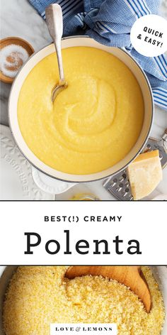 """Learn how to make creamy polenta at home! With my """"instant"""" polenta method, it cooks in no time, and it's the perfect base for flavorful sauces, roasted vegetables, and more! A delicious dinner or side dish. 