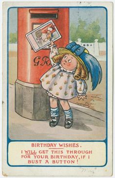 Birthday wishes.  [[Girl standing on tiptoe at postbox]] (ca. 1910)