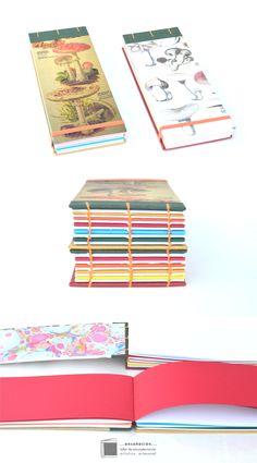 •Hongos•  Libreta reutilizando recortes de diferentes tipos de papeles – Cubierta de imagen y tela – Encuadernación copta – 80 hojas de diferentes tipos, colores y gramajes de papeles – Tamaño 9 x22cm – Elástico