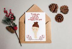 Personalisierte Weihnachtskarte mit deinem Gesicht und Namen! Personalized Christmas card – Geschenkkarte Gift weiss glänzender Kunstdruck von KvanDEER auf Etsy https://www.etsy.com/de/listing/495941227/personalisierte-weihnachtskarte-mit