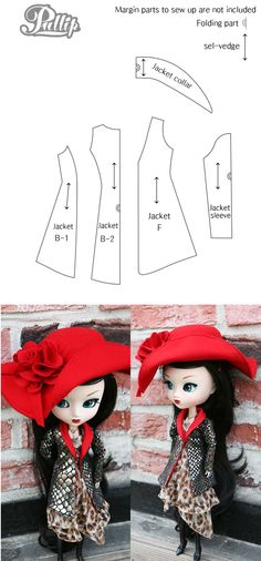 Pullip Jacket Pattern    Pullip & Blythe clothes will fit MH dolls, and this is an awesome jacket.