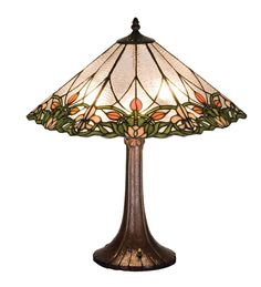 "MEYDA TIFFANY STAINED GLASS TULIP & FLEURS NIGHT STAND END TABLE LAMP - 20""H #MeydaTiffany"