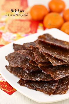 Wafer thin Bak Kwa (Chinese Pork Jerky) is a must-have for the Chinese New Year. Make your own using just a few simple ingredients and at a fraction of the cost. | Food • Culture • Stories at MalaysianChineseKitchen.com Pork Jerky, Homemade Jerky, Chinese Pork, Jerky Recipes, Malaysian Food, Dehydrated Food, Pork Dishes, Asian Cooking, Rind