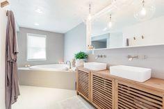 Double Vanity Bathroom Mirrors: Ideas and Inspiration | Hunker Bathroom Styling, Double Vanity Bathroom, Bathroom Faucets, Wall Mount Faucet Bathroom, Vanity, Bathroom Mirror, Tile Tub Surround, Bathroom Farmhouse Style, Bathroom