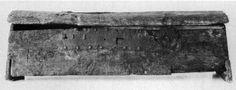 A frontal view of the original Mästermyr chest.