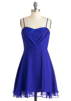 Evening Glamour Dress in Cobalt by Jack by BB Dakota - Blue, Party, A-line, Solid, Sequins, Prom, Spaghetti Straps, Holiday Party, Short