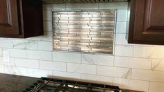 Marble look subway backsplash tile with brushed copper Athens metal mosaic tile from Subway Tile Backsplash, Glass Subway Tile, Kitchen Backsplash, Backsplash Ideas, Floor Molding, The Tile Shop, Tile Installation, Style Tile, Interior Design Kitchen