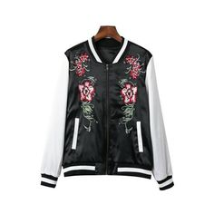 Zipper Closure Flower Embroidered Bomber Jacket ($37) ❤ liked on Polyvore featuring outerwear, jackets, black, print jacket, flight jackets, pattern jacket, bomber style jacket and zip jacket