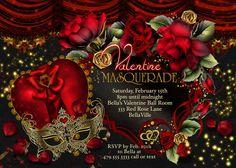 Masquerade Valentine Party Invitations Valentines by BellaLuElla, $12.00