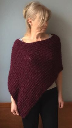 Wool poncho, Women Purple poncho, Knit poncho, Boho  knit poncho Hand knit shawl-Wool cape-Women poncho sweater #wool_poncho #women_purple_poncho #poncho #women_poncho #knit_poncho