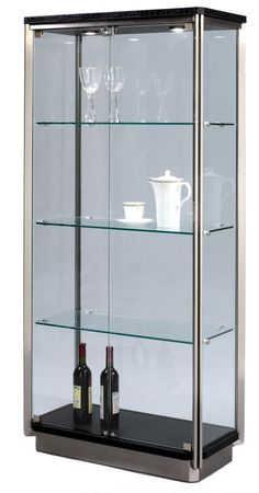 Charmant Large Rectangular All Glass Curio Cabinet. The Curio Has Black And  Stainless Steel Accents. There Are 2 Overhead Lights To Showcase Your  Contents.