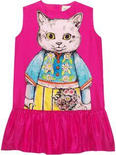 4f4a1bbe7cc Gucci Kids Children s Silk Dress With Kitten Print - Farfetch