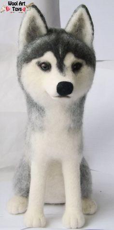 Needle felted Siberian Husky - Sky by WoolArtToys.deviantart.com on @DeviantArt