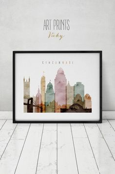 Cincinnati art print, watercolor poster, Wall art, Cincinnati skyline, cities poster, Cincinnati print, digital watercolor, ArtPrintsVicky. by ArtPrintsVicky on Etsy https://www.etsy.com/listing/261919432/cincinnati-art-print-watercolor-poster