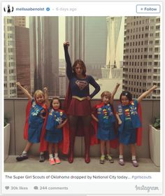 "Supergirl Hung Out with ""Super Girl Scouts"" and It Was Super Cute ""What's better than a box of Girl Scout cookies delivered to your mailbox? ""How about a pic of Supergirl hanging out with a bunch of Girl Scouts dressed as Supergirl getting delivered to your feed? That's what happened on Friday when Melissa Benoist, who plays Supergirl on the upcoming CBS show of the same name, posted two adorable photos of her and the ""Super Girl Scouts of Oklahoma"" on Instagram. Read the full piec"