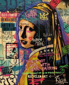 Graphic Design Illustration, Illustration Art, Girl With Pearl Earring, Famous Artwork, Geometry Art, Arte Pop, Old Art, Urban Art, Collage Art