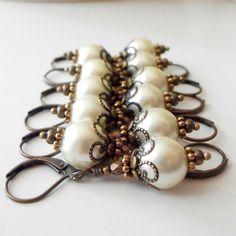 Ivory Pearl Earrings Bridesmaid Jewelry Beaded by FiveLittleGems, $15.00