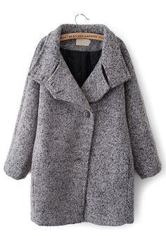 Grey Plain Turndown Collar Long Sleeve Wool Coat