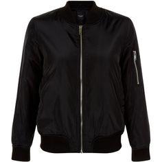 New Look Petite Black Bomber Jacket ($33) ❤ liked on Polyvore featuring outerwear, jackets, black, bomber style jacket, zip front jacket, long sleeve jacket, bomber jacket and blouson jacket