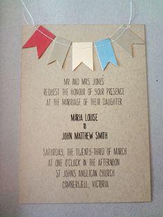 Beautiful Bunting Wedding Invitation, RSVP & Map Card. $7.99, via Etsy.