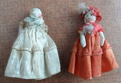 Victorian wooden penny peg Farthing dolls x 2 1.75 inhes tall