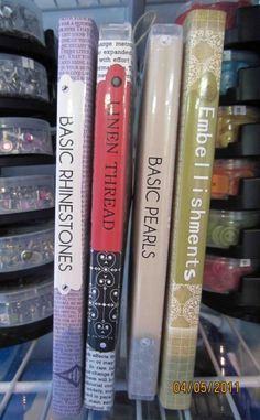 Love this organizational idea using dvd cases for scrapbook embellishments but dvd cases could get expensive... hmmm wonder if I could use all those old cd cases I have lying around...