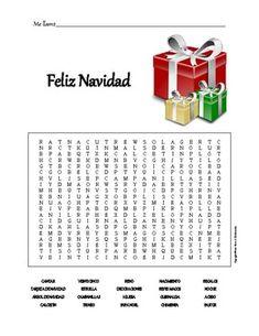 Spanish to Spanish Word Search that includes the following vocabulary: CANTAR TARJETA DE NAVIDAD ÁRBOL DE NAVIDAD CALCETÍN VEINTICINCO ESTRELLA CAMPANILLAS TRINEO RENO DECORACIONES IGLESIA PAPÁ NOEL NACIMIENTO REYES MAGOS GUIRNALDA CHIMENEA REGALOS NOCHE ACEBO PASTOR