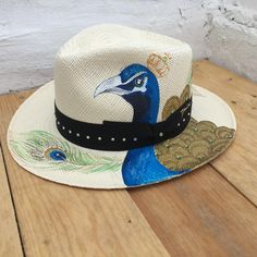 Painted Hats, Hand Painted, Peacock Canvas, Straw Hats, Panama Hat, Biscuit, Cowboy Hats, Decoupage, Nautical
